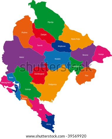 Map of administrative divisions of Montenegro - stock photo