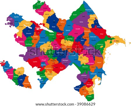 Map of administrative divisions of Republic of Azerbaijan - stock photo