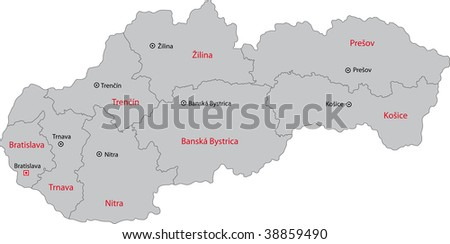 Map of administrative divisions of Slovakia - stock photo