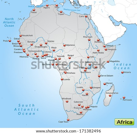 Map of Africa as an overview map in gray