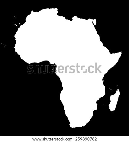 Map of Africa. White silhouette of continent on black background - stock photo