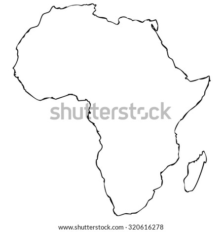 Captivating Map Of African Continent With Black Outline On White Background Without  Internal Borders
