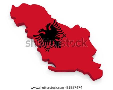 Map of Albania with flag Republic of Albania - stock photo