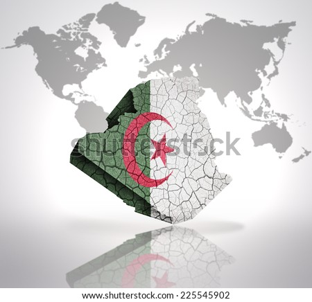 Map of Algeria with Algerian Flag on a world map background - stock photo