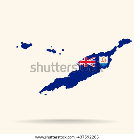 Map Anguilla Anguilla Flag Colors Stock Illustration 437592205