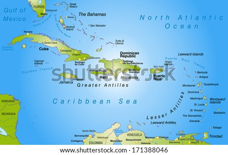 Map of Antilles as an overview map in green