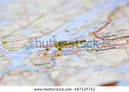 Map Area Around Trondheim Norway Stock Photo Royalty Free