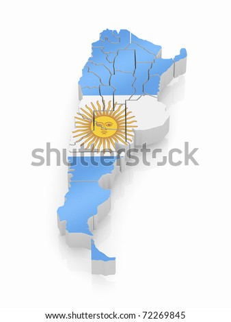 Map of Argentina in Argentinian flag colors. 3d - stock photo