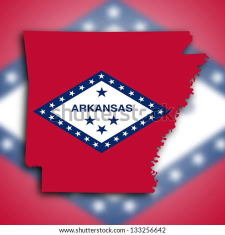 Map of Arkansas, filled with the state flag - stock photo