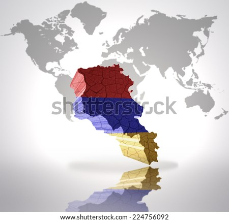 Map of Armenia with Armenian Flag on a world map background - stock photo