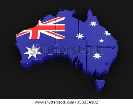 Map of Australia. Image with clipping path. - stock photo
