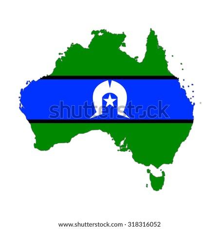 Map of Australia in Aboriginal and Torres Strait Islander flag colors. Aboriginal and Torres Strait Islander in Australia - stock photo