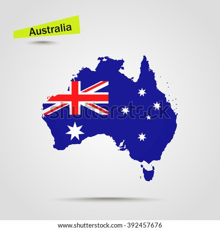 Map of Australia in Australian flag