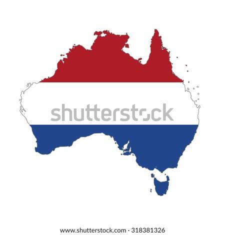 Map of Australia in Netherlands flag colors. Dutch  in Australia - stock photo