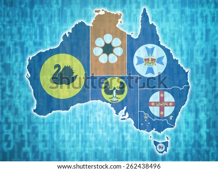 map of australia with administrative divisions over digital background - stock photo