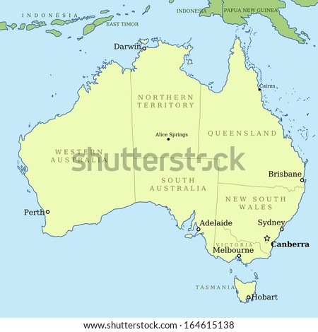 Map Australia All Important Cities Administrative Stock Illustration