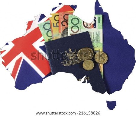 Map of Australia with Australian flag, passport and money cash dollar notes and coins. - stock photo