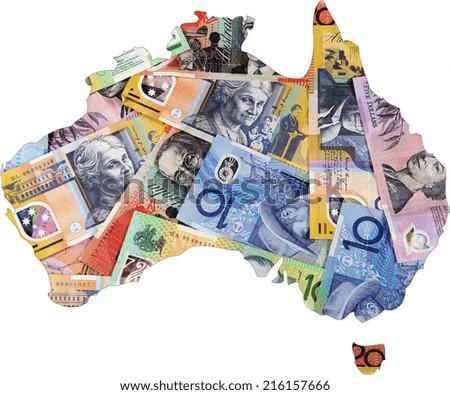 Map of Australia with Australian money dollar notes. - stock photo