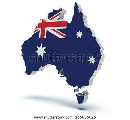 Map of Australia with flag colors. 3d render illustration. Isolated on white. - stock photo