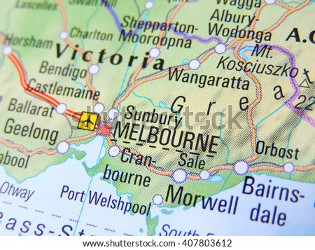 Map of Australia with focus on Melbourne      - stock photo