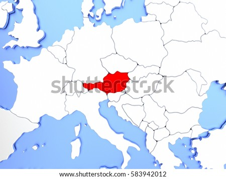Map austria highlighted red on simple stock illustration 583942012 map of austria highlighted in red on simple shiny metallic map with clear country borders gumiabroncs Image collections