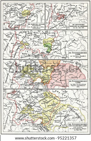 "Map of Austria-Hungary from the 12th century to the 17th century. Publication of the book ""Meyers Konversations-Lexikon"", Volume 7, Leipzig, Germany, 1910"