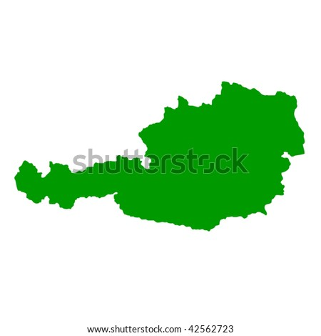 Map of Austria isolated on white background. - stock photo
