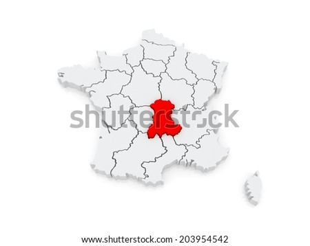 Map of Auvergne. France. 3d