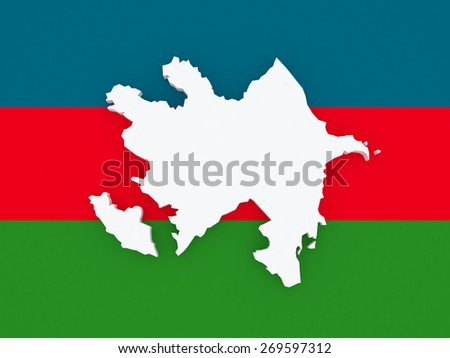 Map of Azerbaijan. 3d