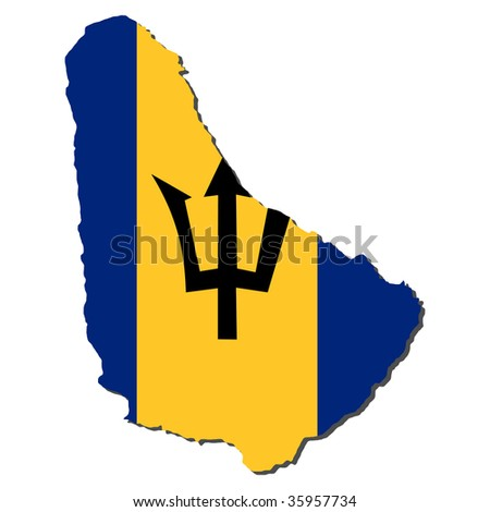 map of Barbados and their flag illustration JPEG