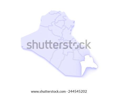 Map of Basra. Iraq. 3d - stock photo