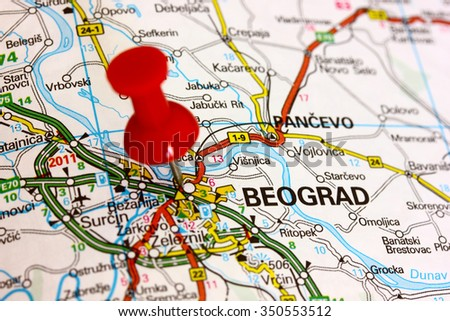 Map of Belgrade - stock photo