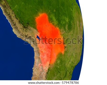 Map of Bolivia in red on planet Earth. 3D illustration with detailed planet surface. Elements of this image furnished by NASA.
