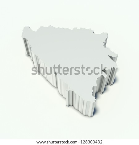 map of Bosnia and Herzegovina in perspective and white - stock photo