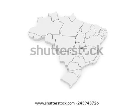 Map of Brasilia. Brazil. 3d - stock photo