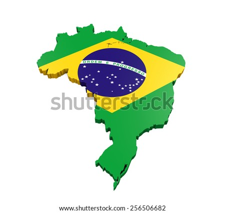 Map of Brazil - stock photo