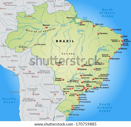 Map Brazil Overview Map Pastel Green Stock Illustration 170759885