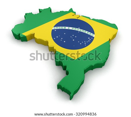 Map of Brazil. 3d render Image. Image with clipping path - stock photo