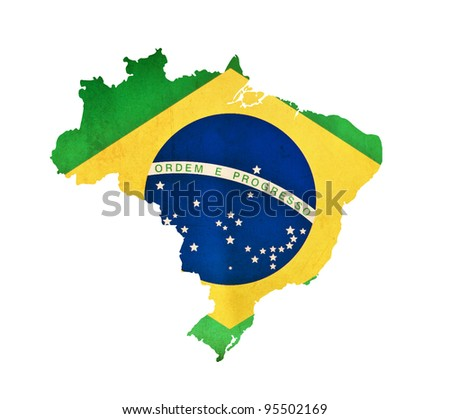 Map of Brazil isolated - stock photo