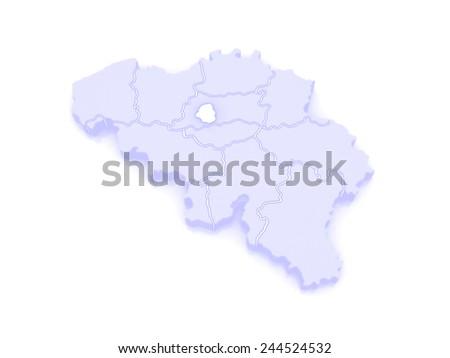 Map of Brussels. Belgium. 3d - stock photo