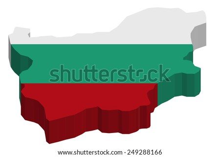 Map of Bulgaria with national flag decor   - stock photo