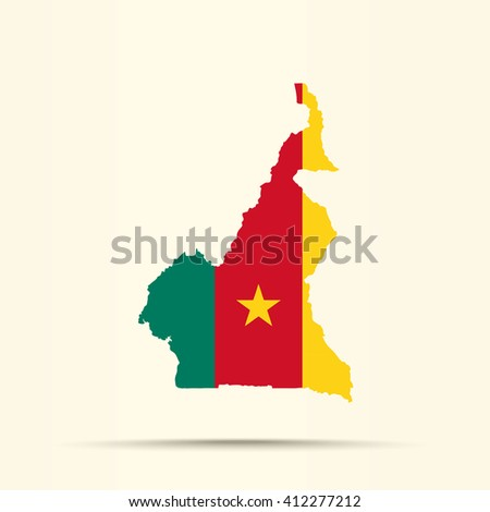 Map of Cameroon in Cameroon flag colors - stock photo