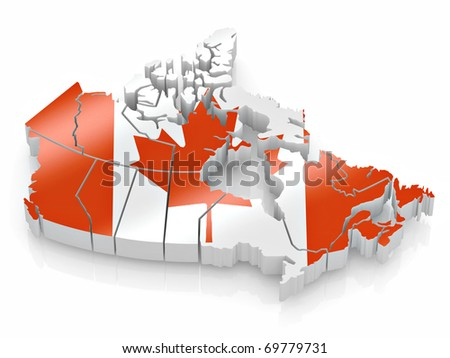 Map of Canada in Canadian flag colors. 3d - stock photo