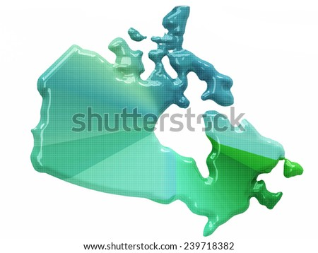 Map of Canada in 3d style - stock photo