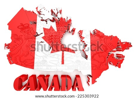 Map of Canada with flag colors. 3d render illustration.