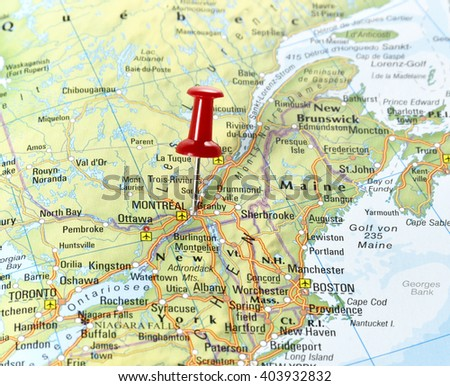 Map Canada Pin Set On Montreal Stock Photo Shutterstock - Montreal canada map