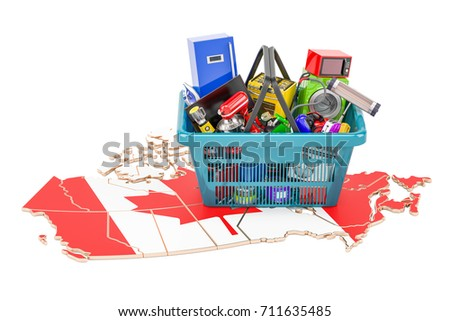 map of canada with shopping basket full of home and kitchen appliances 3d rendering