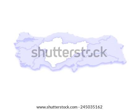 Map of Central Anatolia. Turkey. 3d - stock photo
