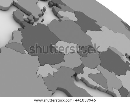 Map of Central Europe on grey model of Earth. 3D illustration - stock photo