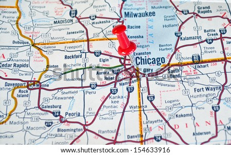 Map of Chicago, IL with Red Push Pin